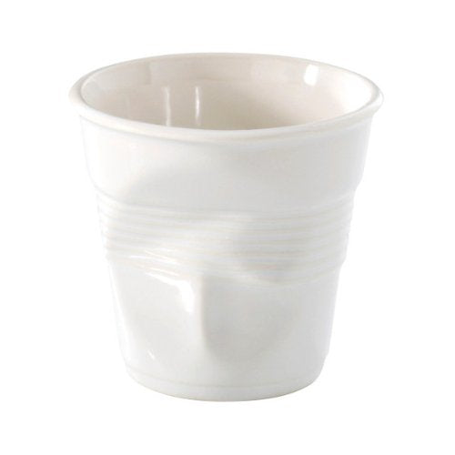 Espresso Crumpled Cup Porcelain White Set of 6