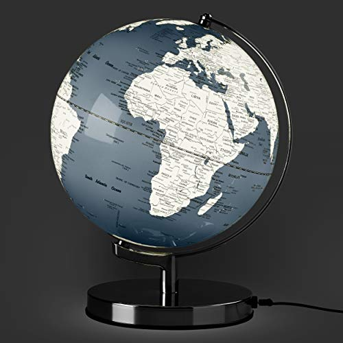 "Illuminated Geographic World 10"" Desk Globe with Stand, LED Lighting, and USB Plug"