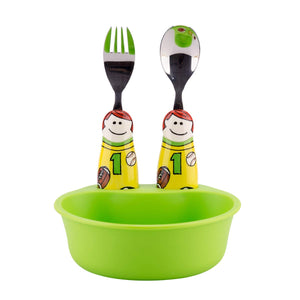 Kids and Toddler Sports Bowl & Utensil Set in Green