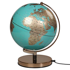 "Illuminated Geographic World 10"" Globe LED-Lighting and USB Plug"