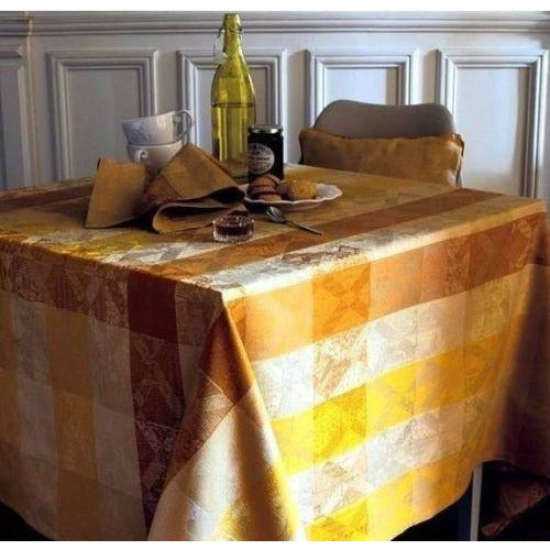 "Garnier-Thiebaut Coated Tablecloth Mille Losanges 69"" Square"