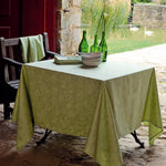 Garnier-Thiebaut Coated Tablecloth Mille Pensees Chartreuse