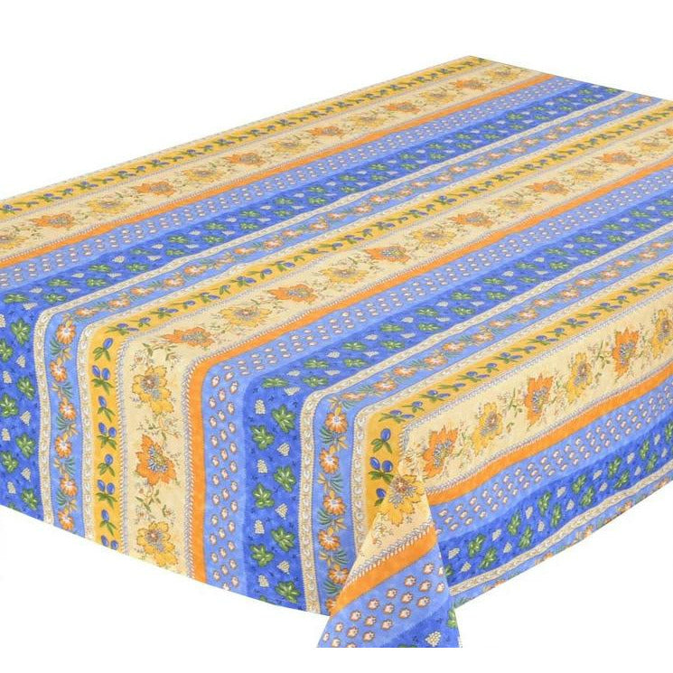 "Monaco Blue Coated Cotton Tablecloth 60"" x 84"""