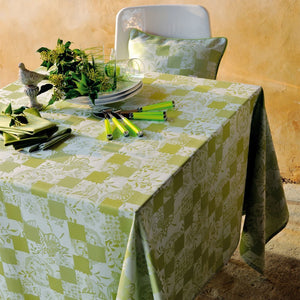 "Mille Birds Garden Green Coated Tablecloth, 68"" X 98"""