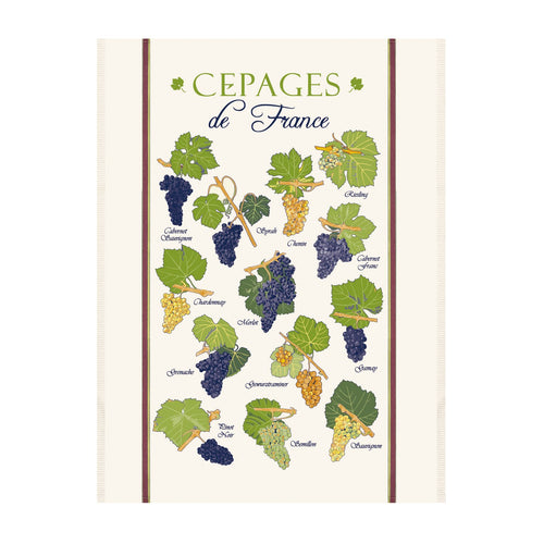 Red Grape Varieties from France Kitchen Tea Towel
