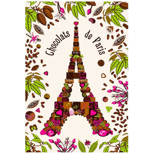 Chocolats de Paris Eiffel Tower Kitchen Tea Towel