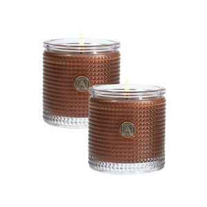 Cinnamon Cider Textured Glass Scented Jar Candle Set of 2