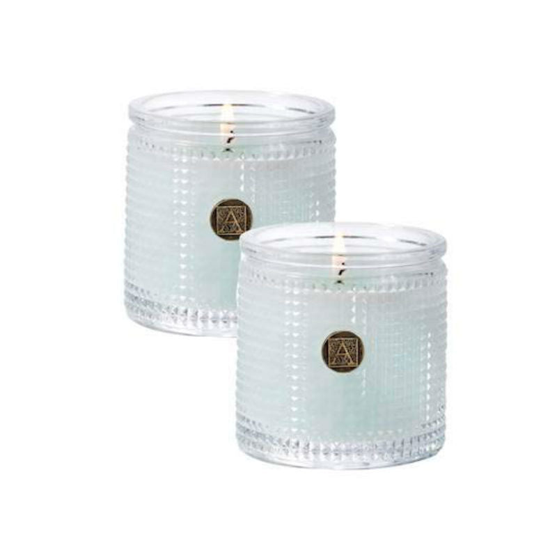 Cotton Ginseng Textured Glass Scented Jar Candle - Set of 2