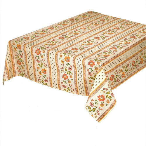"Fayence Cream Coated Cotton Tablecloth 60""x96"""