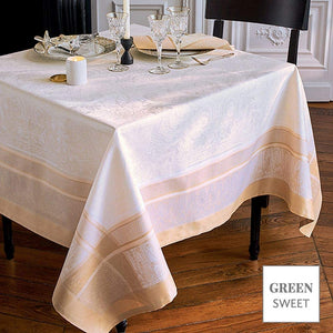 "Garnier-Thiebaut Persina Dore Or, Green Sweet Tablecloth  69""x100"""
