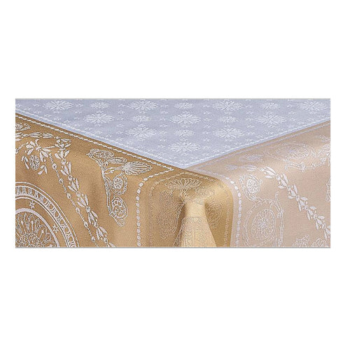 "Garnier-Thiebaut Tablecloth Imperatrice Gold 68"" Square"