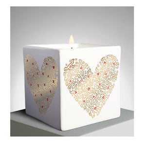 Keith Haring Gold Heart Square Scented Candle