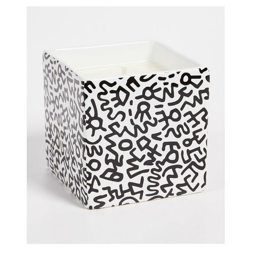 Keith Haring Black Pattern Square Scented Candle