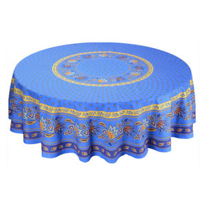 Lisa Blue Coated Tablecloth (sizes available)