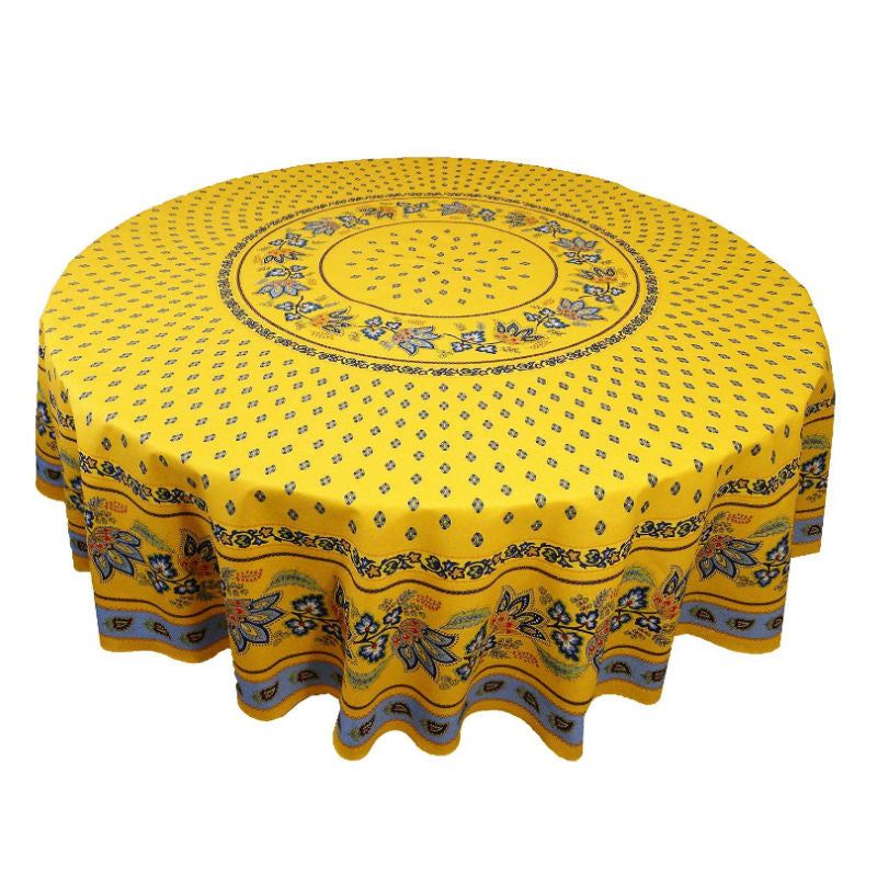 "Lisa Yellow Coated Tablecloth 70"" Round"