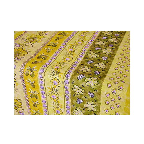 "Monaco Yellow-Green Coated Cotton Tablecloth 60""x96"""