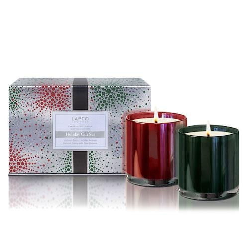 Winter Balsam & Crimson Berry Lafco Holiday Classic Candle Duo Gift Set