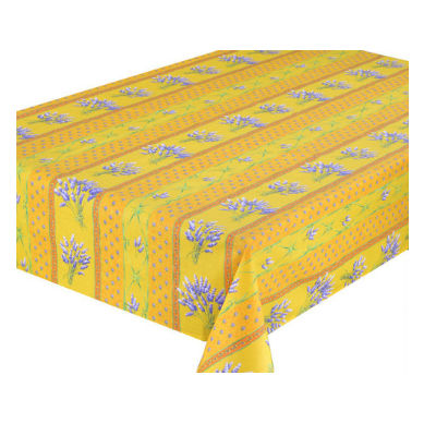 Lavender Yellow Coated Tablecloth (sizes available)