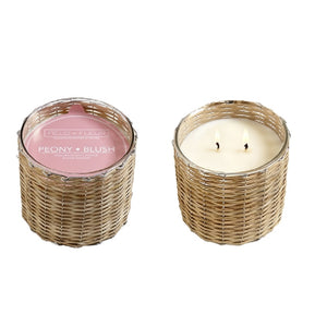 Peony Blush 2 Wick Handwoven Scented Candle