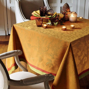 "Garnier-Thiebaut Tablecloth Plaisirs D Automne Roux 69"" Square"
