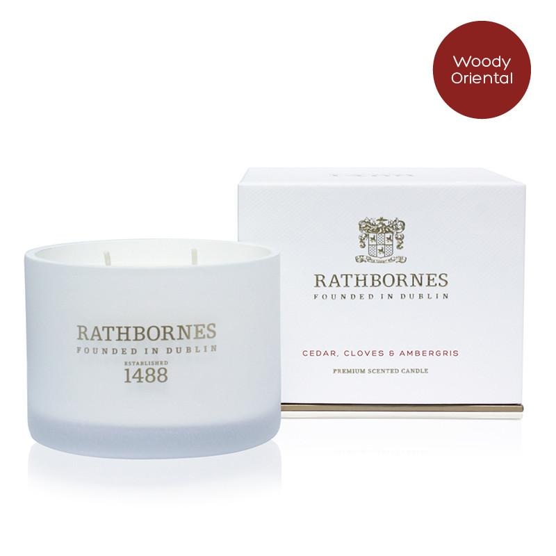 Rathbornes Cedar, Cloves & Ambergris Two Wick Classic Scented Candle 190g