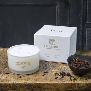 Rathbornes Cedar Cloves & Ambergris Woody Oriental Four Wick Cedar, Luxury Scented Candle