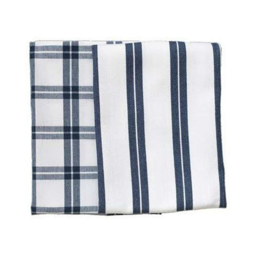 Checker Stripes Blue/White Kitchen Towels (Set of 2)
