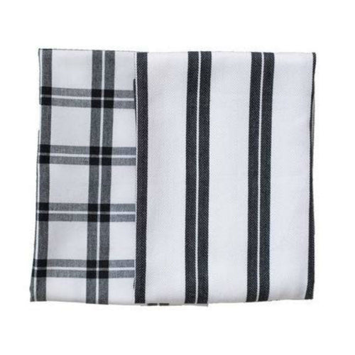 Checker Stripes Black/White Kitchen Towels (Set of 2)