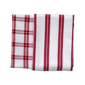 Checker Stripes Red/White Kitchen Towels (Set of 2)