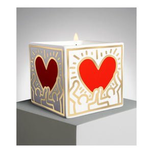 Keith Haring Red and Gold Heart  Square Scented Candle