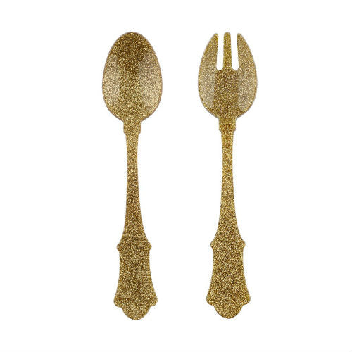 Old Fashion Salad Set Glitter Gold