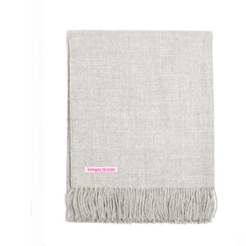"Simple Things Baby Alpaca Throw Color Natural Light Grey 70"" x 52"""