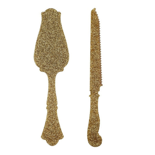 Old Fashion Tart Slicer & Bread Knife - Glitter Gold