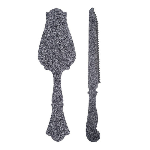 Old Fashion Tart Slicer & Bread Knife - Glitter Silver