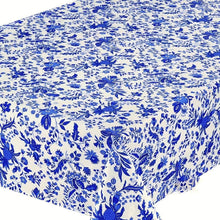 Load image into Gallery viewer, Versailles Blue & White Coated Tablecloth (sizes available)