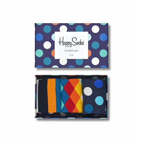 Mix 3-pack Sock Gift Box In Blue Multi Unisex (Size 10-13)