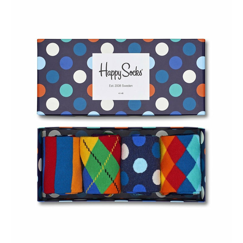 Happy Socks Unisex Gift Box 4 Pack in Blue (Size 10-13)