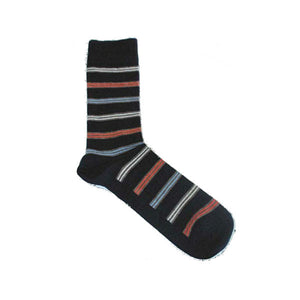 "Bengt & Lotta ""Line"" Black Socks, Large"