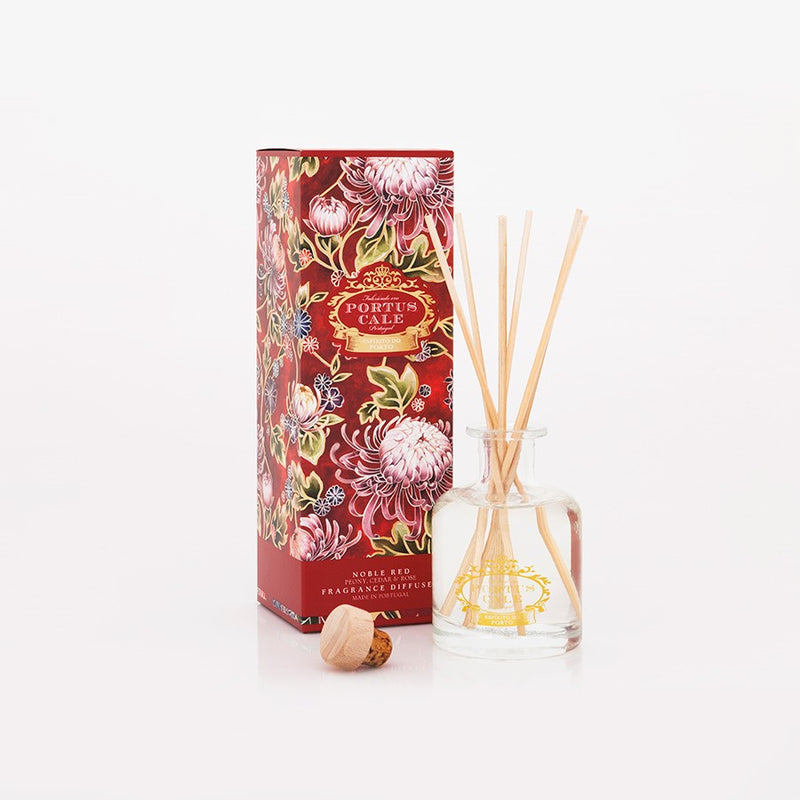 Portus Cale Noble Red Fragrance Reed Diffuser Clear Glass Bottle 100 mL