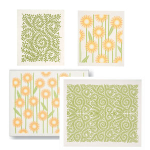 Swedish Drying Mats with Dishcloths Set of 4  (Green Leaves & Yellow Daisies)