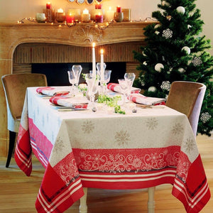 "Garnier-Thiebaut Tablecloth Snowflakes Rouge Christmas Holiday 69"" Square"
