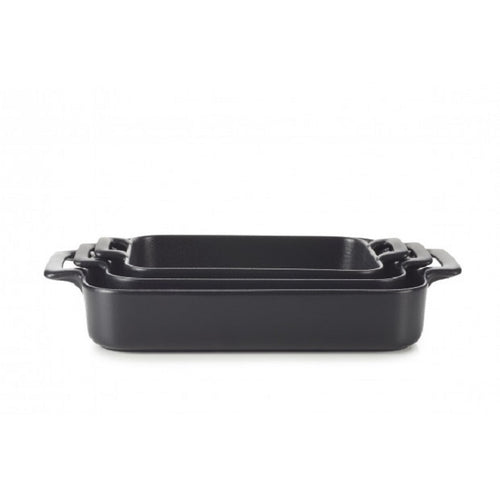 Belle Cuisine Rectangular Roasting Dishes Black Set of 3 sizes