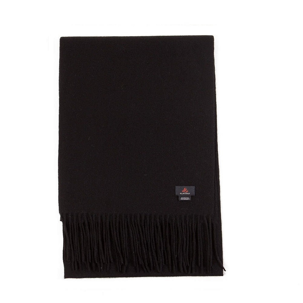 Cashmere Blend Woven Scarf in Ebony Black