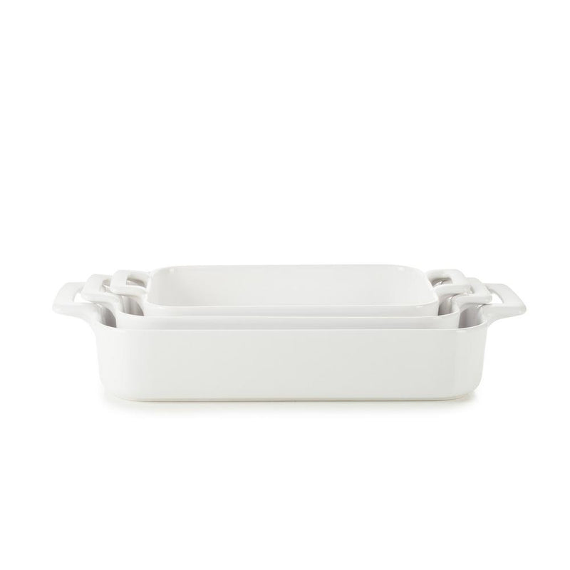 Belle Cuisine Rectangular Roasting & Serving Baker White (Set of 3)