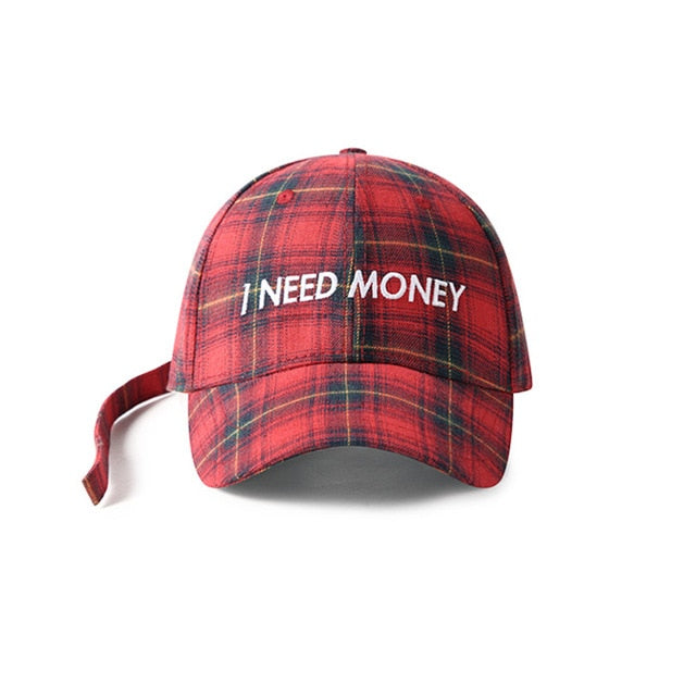 I NEED MONEY Embroidered Plaid Cap [4 Colours]