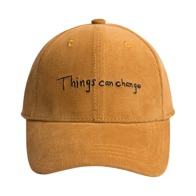 THINGS CAN CHANGE Embroidered Corduroy Cap [4 Colours]