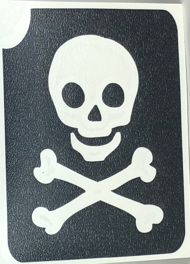 Glitter Tattoo Stencil Skull Crossed Bones