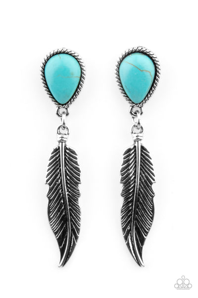 Paparazzi Totally Tran-QUILL - Earrings Blue Box 83