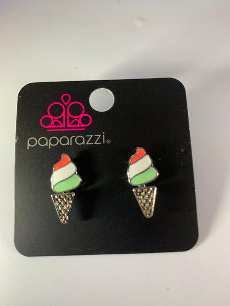 Paparazzi Starlet Shimmer Earrings Ice Cream Cones Orange White Green Ear Jackets