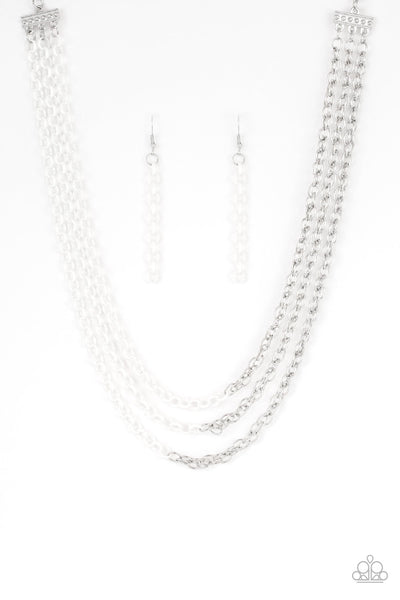 Paparazzi Turn Up The Volume - Necklace White Box 46